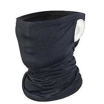 2Pcs dark gray summer sunscreen ice silk riding mask, half face anti-uv hanging ear cover for fishing hiking az13868
