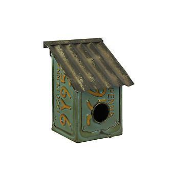 Rustik blå metall registreringsskylt birdhouse dekorativ vintage hängande fågelbo