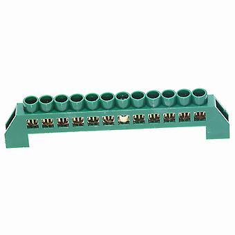 new green 12 pin screw brass din rail terminal block ground and neutral blocks 4 6 8 10 12 way sm41937