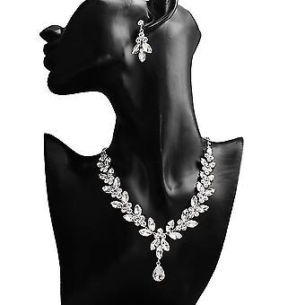 Smykker Sæt Bride Diamond besat kvinder halskæde kvinder halskæde øreringe til bryllup