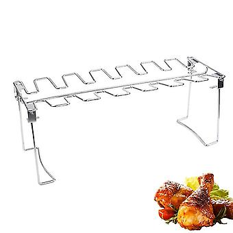 BBQ Chicken Leg Wing Grill Rack 14 Slots Stainless Steel Barbecue Drumsticks Holder Smoker Oven