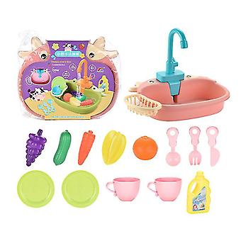 Cute Children's Kitchen Pretend Play Toys, Cookware Pots And Pans Toy Set(PINK)