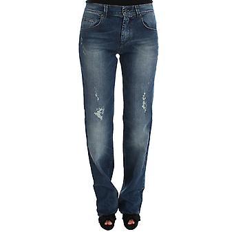 Jeans de mezcla de algodón azul de lavado Slim Fit