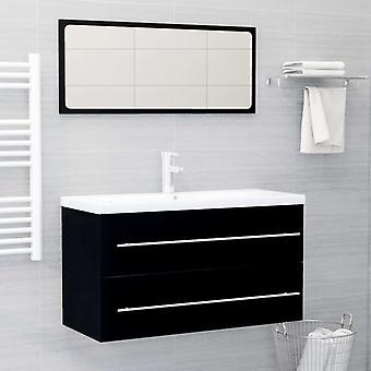 vidaXL 2 pezzi. Set di mobili da bagno truciolato nero