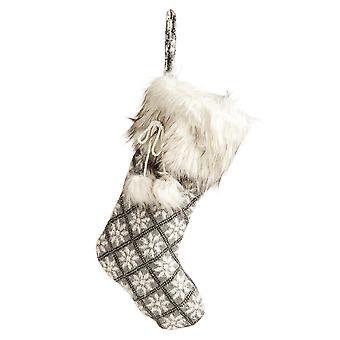 52cm Grå Fair Isle Mönster julstrumpa med fuskpäls manschetten