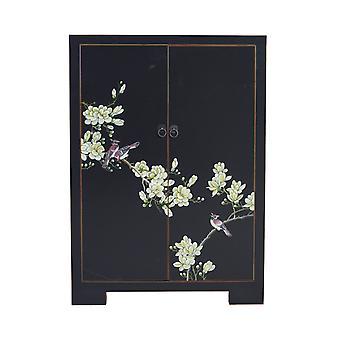 Fine Asianliving kinesiske kabinet Sort håndmalede Blossoms W80xD35xH99cm