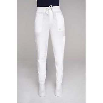 Olivia - Cargo Style Scrub nohavice s tunelovým sťahovaním v bavlnenej zmesi - biela