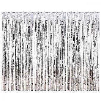 Metallic Tinsel Curtains, 4pcs Photo Booth Backdrop Tinsel Foil Fringe Curtains Environmental Background For Birthday Wedding Party Christmas Decorati