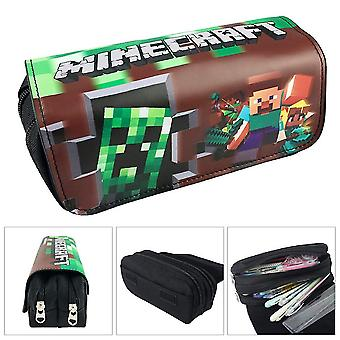 Minecraft Children's double-layer pencil case with large capacity(Color-2)