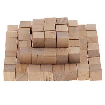 100 Pieces Wooden Cubes Unfinished Square Cubes