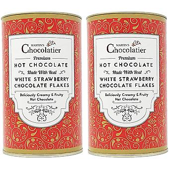 Martin's Chocolatier | 2 Pack | Strawberry Hot Chocolate Flakes Drinking Chocolate Made from Real Belgian Chocolate Flakes