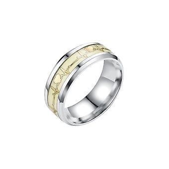 Swotgdoby Ecg fluorescerende ring, lichtgevende roestvrijstalen ring, cadeau voor liefhebbers