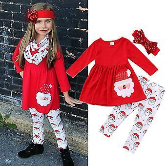 Christmas Kids Girls Outfit Set Xmas Santa Dress Leggings Bow Headband