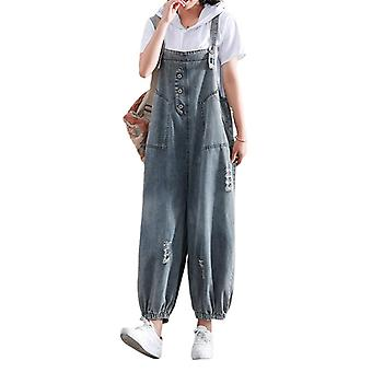 Plus Size Overalls Woman Casual Ripped Pants Jeans