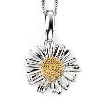 925 Silver Gold Plated Flower Necklace