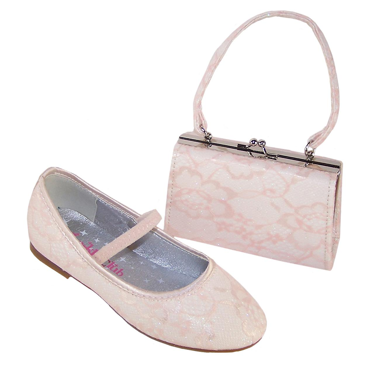 Girls sparkly ivory occasion shoes with peach net overlay and matching bag