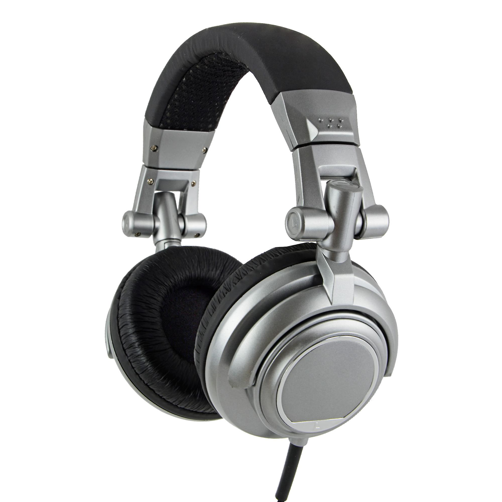 REYTID Noise Isolating Over-Ear Fully Adjustable Headphones Volume Control / Microphone 50mm Drivers Stereo DJ Compatible with iPhone Android Titanium 3.5mm Jack 90° Swivel Ear Cups