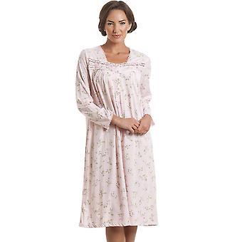 Camille Classic rose Floral manches longues chemise de nuit