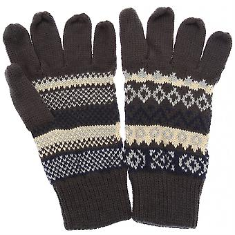 Mens Grey with French Blue/Cream Fair Isle Pattern Gloves RJM GL134