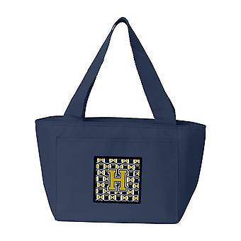 Carolines Treasures  CJ1074-HNA-8808 Letter H Football Blue and Gold Lunch Bag