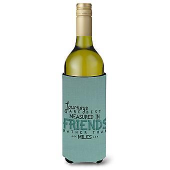 يتم قياس الرحلات في الأصدقاء زجاجة النبيذ بيفيرجي عازل نعالها