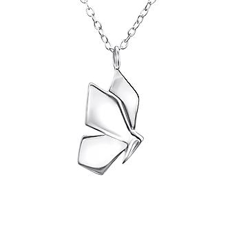 Origami Butterfly - 925 Sterling Silver Plain Necklaces - W26055X