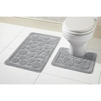 Tapis de bain Cali mis 2 pièce en caoutchouc anti dérapant piédestal toilette Mat tapis de bain