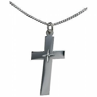 Silber 34x19mm Diamant Sterne flach lateinisches Kreuz mit einem Bordstein Kette 24 Zoll