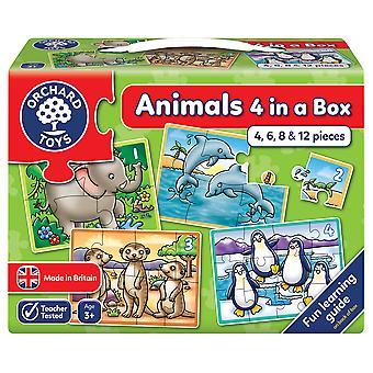 Orchard djur fyra i en låda