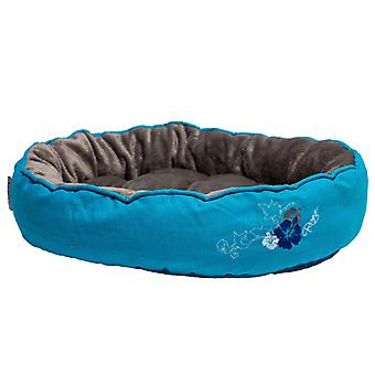 Rogz Cat Soft Comfort Snug Pod Bed Blue Floral, Medium