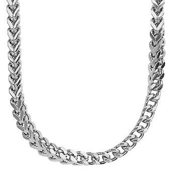 Iskallt ut rostfritt stål BOXED cubic zirconia halsband - silver 6x6mm