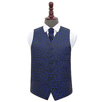 Zwarte & Blue Swirl bruiloft gilet & Cravat Set