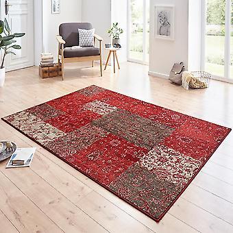 Designer velour carpet Kirie Red Brown