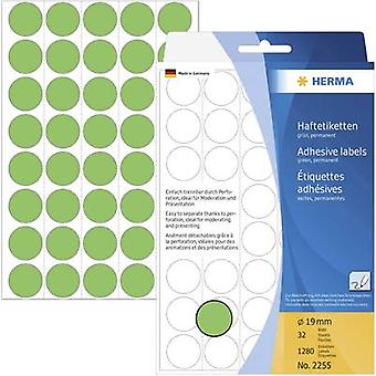 Herma 2255 Sticky dots Ø 19 mm Green 1280 pc(s) Permanent adhesive Paper