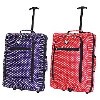 Slimbridge Montecorto Set of 2 Cabin Luggage Bags, (Set of Purple Dots and Red Dots)