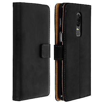 Flip wallet case, leather cover for OnePlus 6, standcase - Black