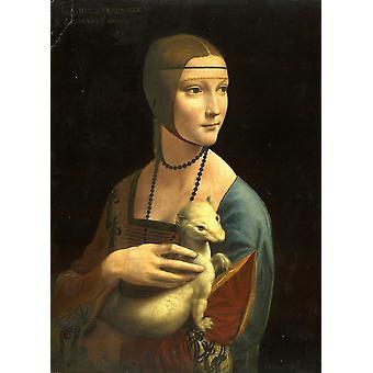 سيدة مع طباعة ملصق قندلفت بليوناردو دا فينشي