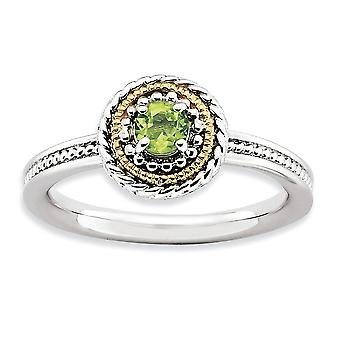 2.25mm 925 Sterling Silver Polished Prong set and 14k Stackable Expressions 925 Sterling Silver Peridot Ring Jewelry Gif