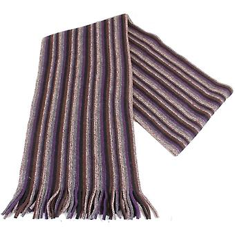 Bassin and Brown Latchford Striped Wool Scarf - Purple/Grey/Brown