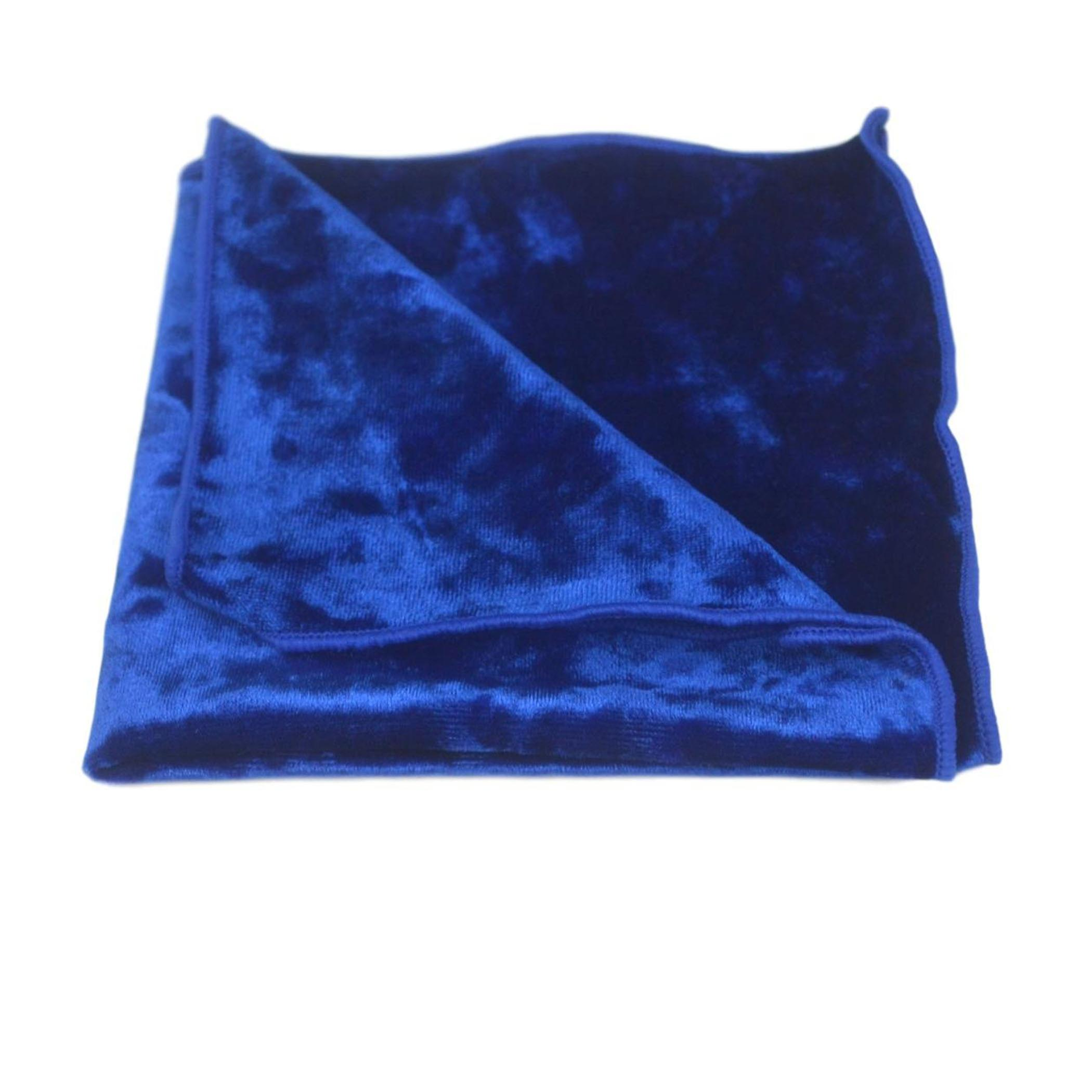 Luxury Blue Crushed Velvet Pocket Square, Handkerchief