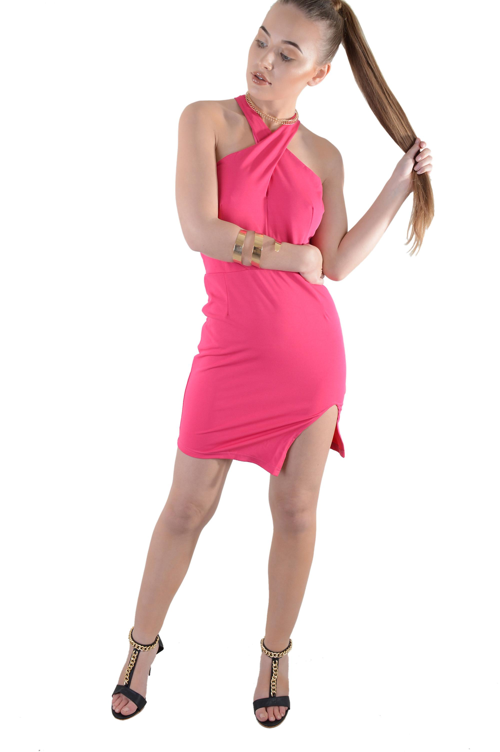 Lovemystyle Hot Pink Halterneck Mini Dress With Cut Out Back