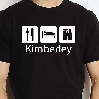 Eat Sleep Drink Kimberley Black Hand Printed T shirt Kimberley Town