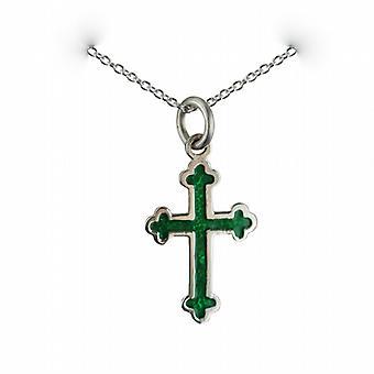 Zilveren 21x15mm groene koude genezen geëmailleerd club einde rand kruis met een rolo ketting 24 inch