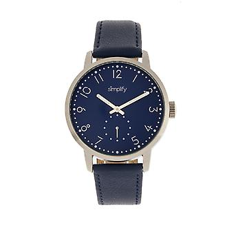 Simplify The 3400 Leather-Band Watch - Silver/Blue