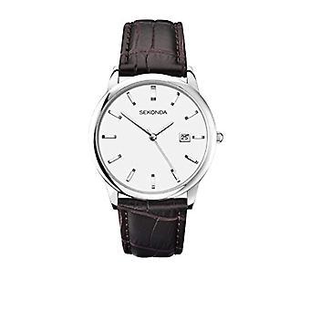 Sekonda 1010 wrist watch for men, Brown leather strap,