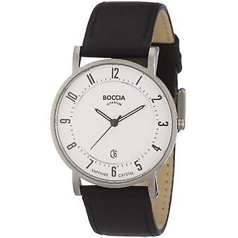 Petanque analog quartz watch with leather band _ 3533-03