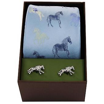 David Van Hagen Horses Tie and Cufflink Set - Sky Blue