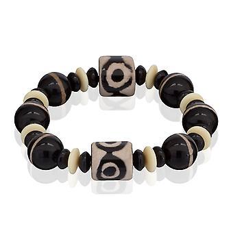 Skipper armband pärlor från naturlig sten armband elastiskt svart 7880