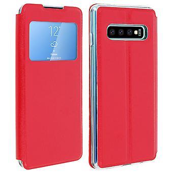 Fönster flip fallet, flip plånbok fallet med stativ för Samsung Galaxy S10 - röd