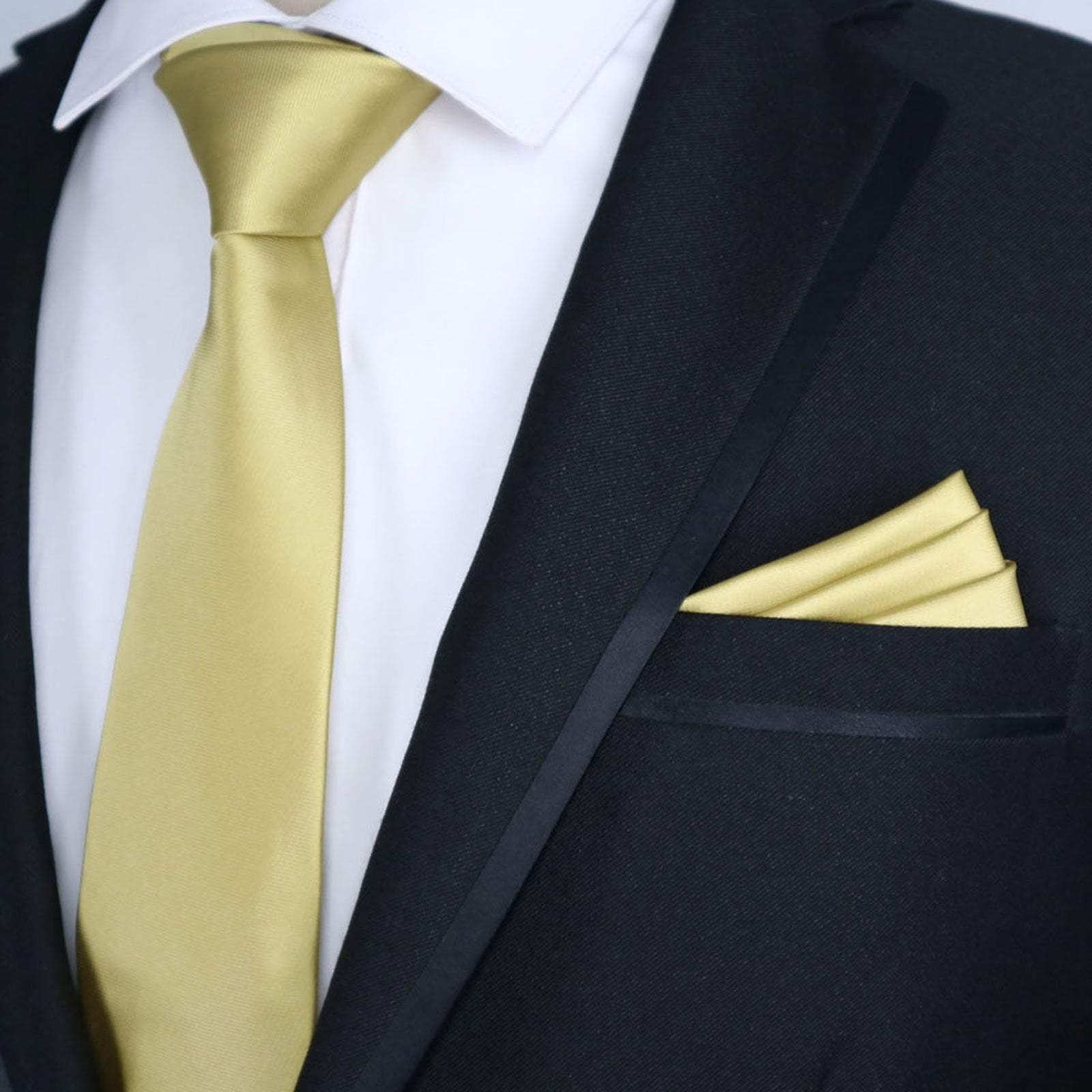 Gold yellow solid satin finish slim tie & pocket square
